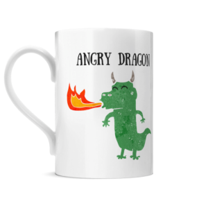 a Mug with a picture of a cartoon dragon it with the words Angry Dragon