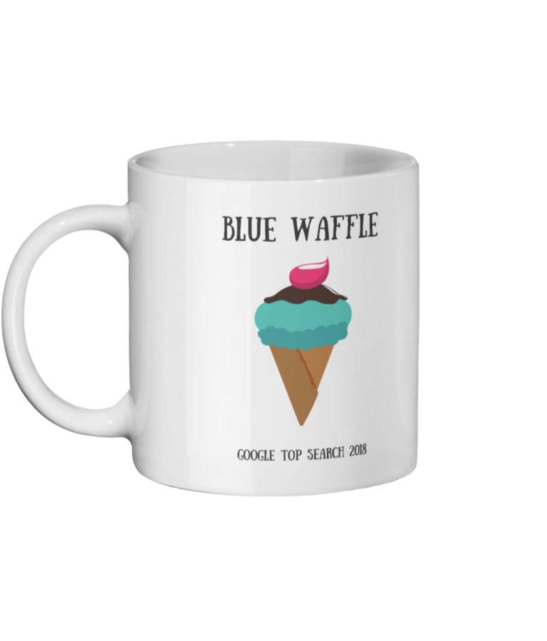 Blue Waffle Mug Left side
