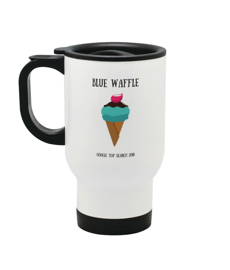 Blue Waffle Stainless Steel Travel Mug Left side