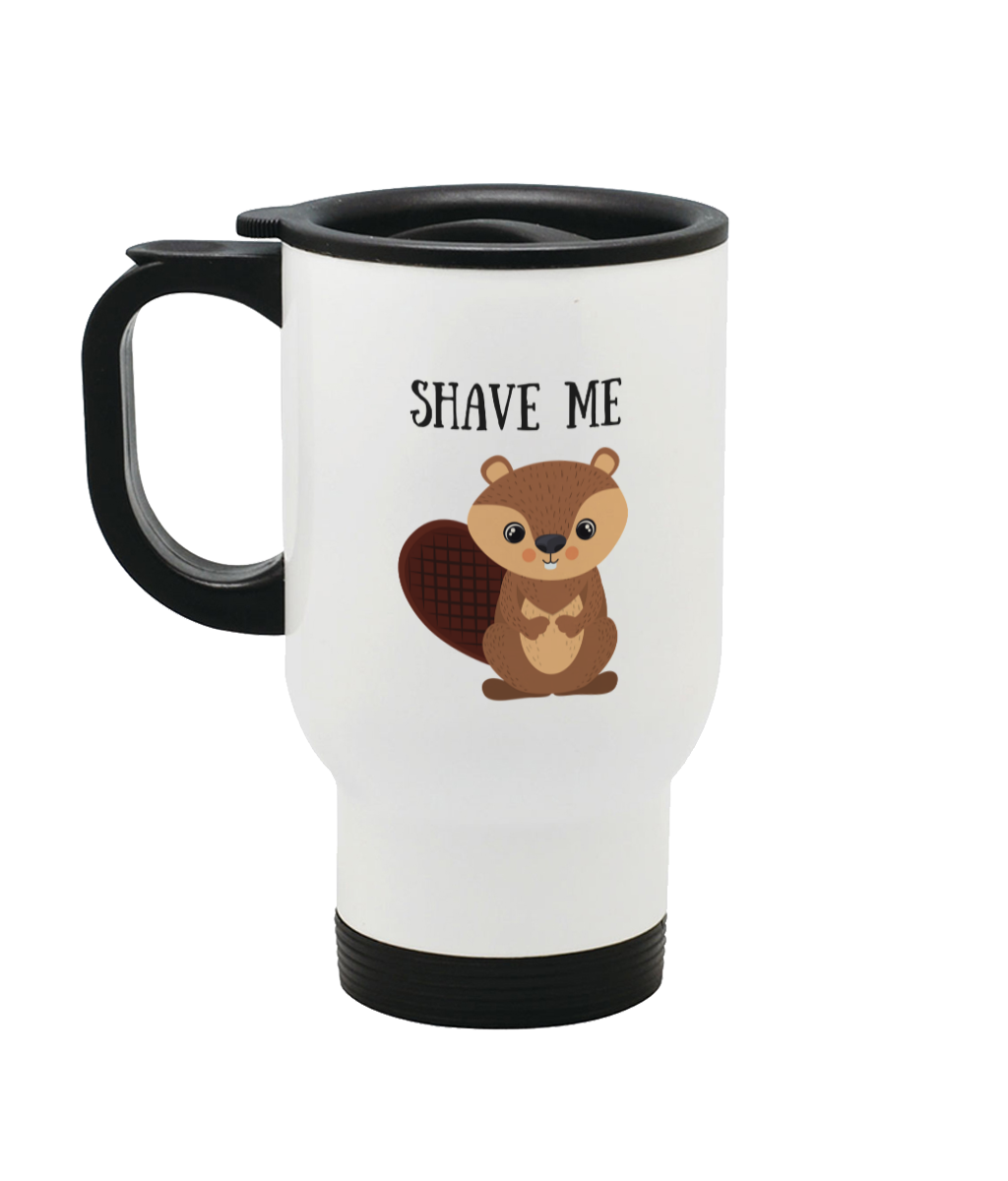 Shave Beaver Stainless Steel Travel Mug Left side