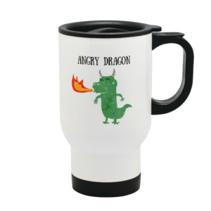 A travel mug with a picture of a dragon on it with the words Angry Dragon