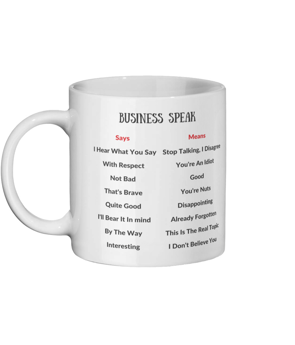 Business Speak- What We Say And What We Mean Mug Left-side